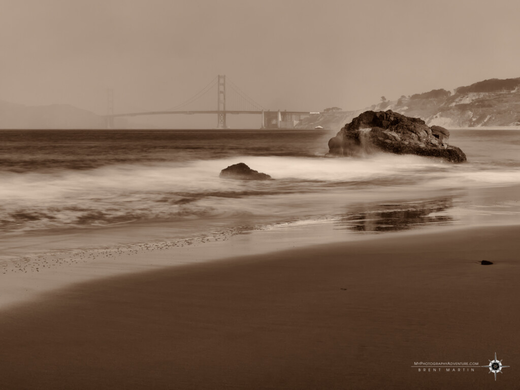 China Beach view of the Golden Gate Bridge in San Francisco, CA